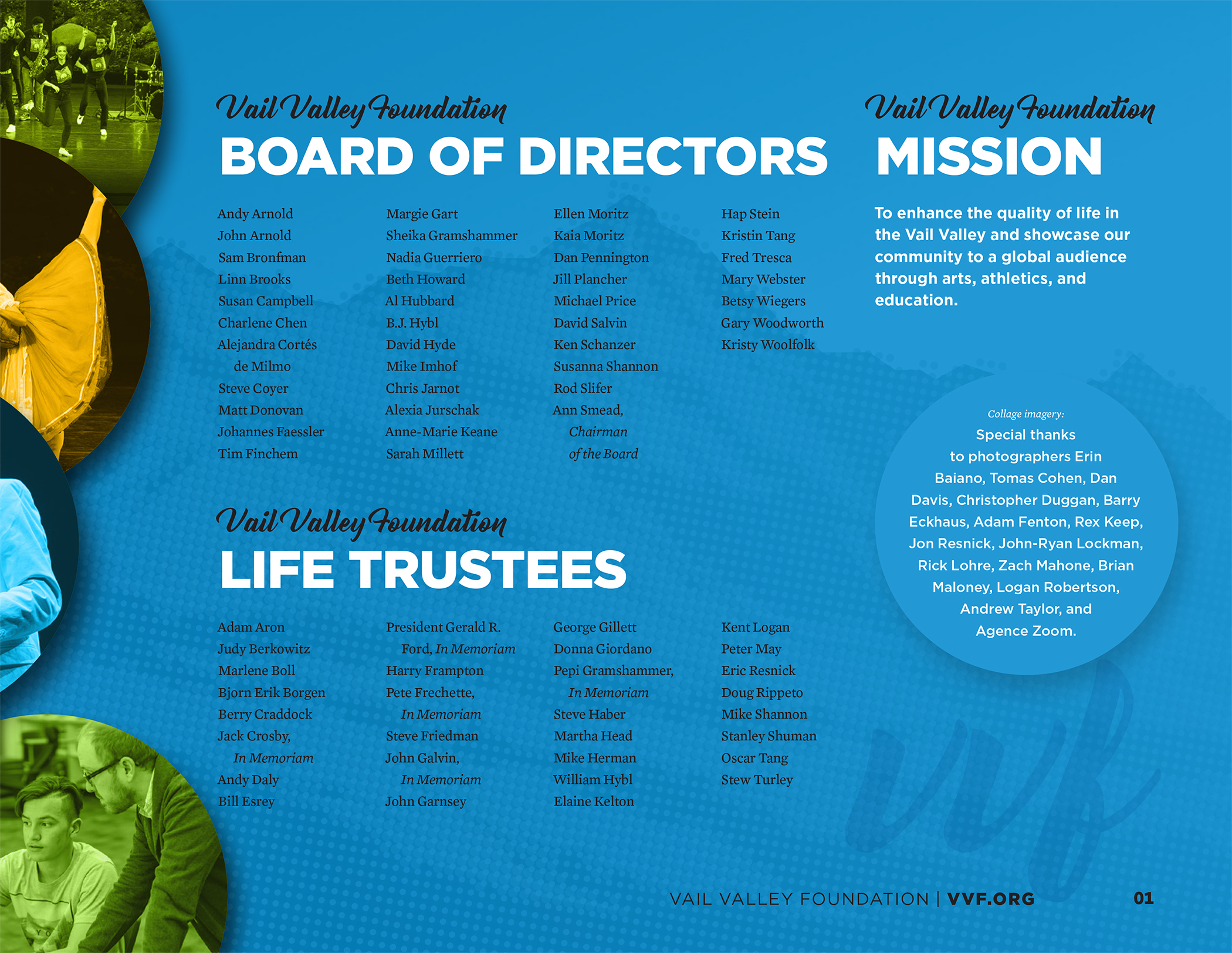 Vail Valley Foundation Board of Directors 2019